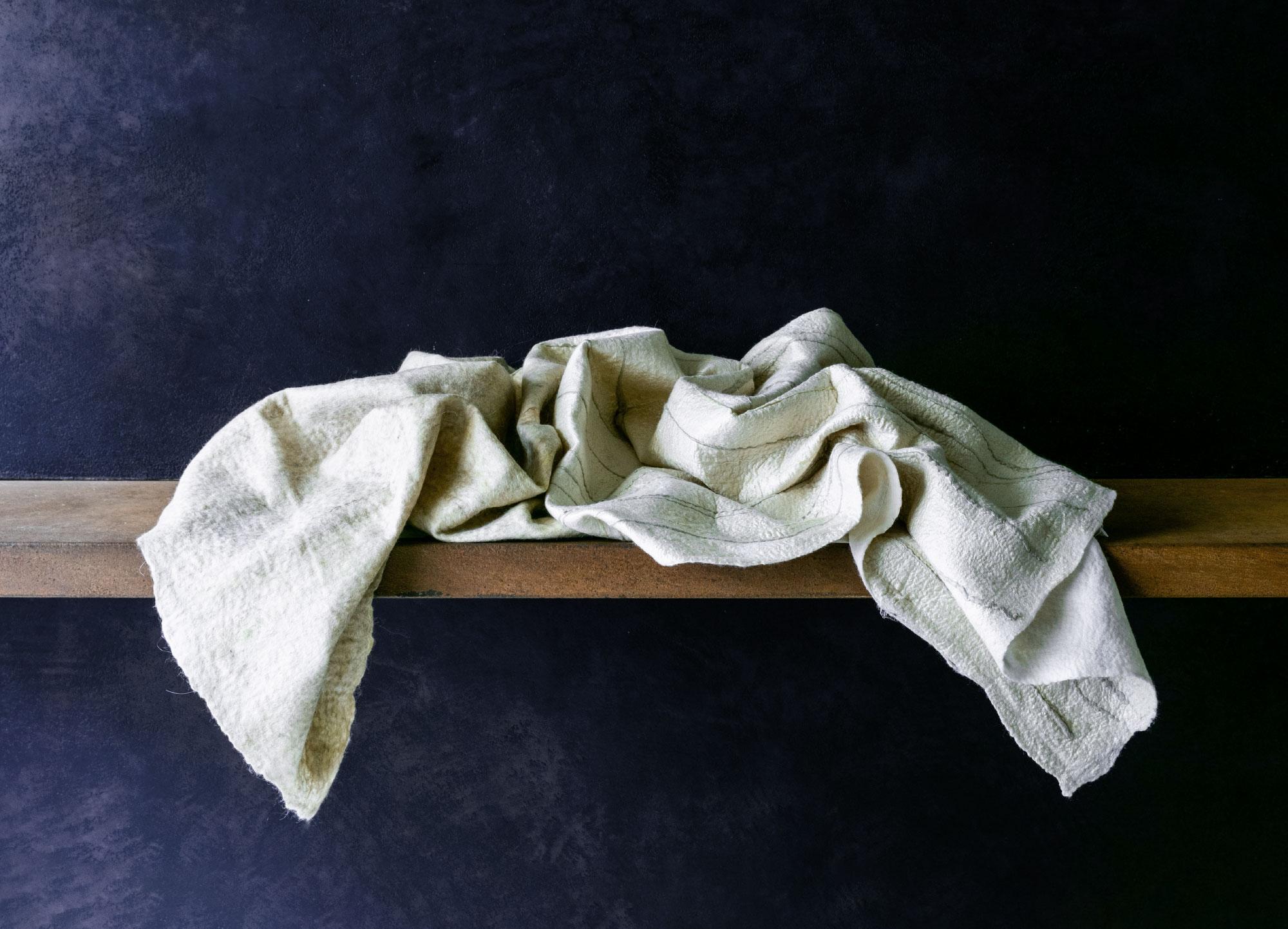 Throw, Embroidered Range, Celadon/Grey