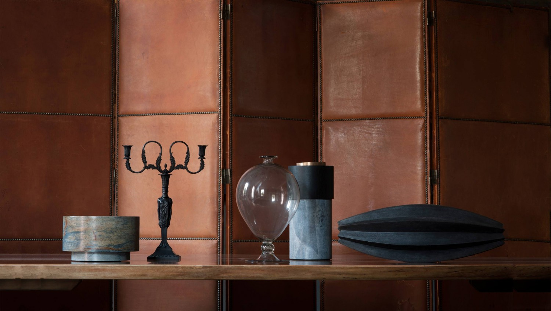 Verheyden objects;  Schinkel candelabra;  Veronese vase, ltd. edition;  raku lidded 'husk'