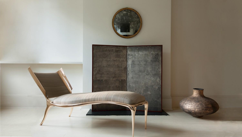 Paul Mathieu 'Aria' chaise, bronze; Abigail Simpson vessel