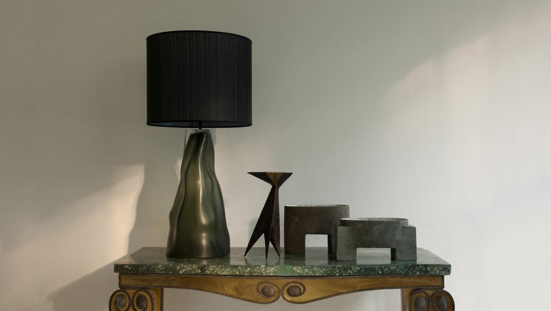 Micheluzzi for Willer lamp, Murano glass; Chadwick ltd. edition candelabra; Philp pots